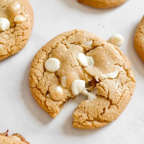 gluten-free white chocolate chip cookies gooey center