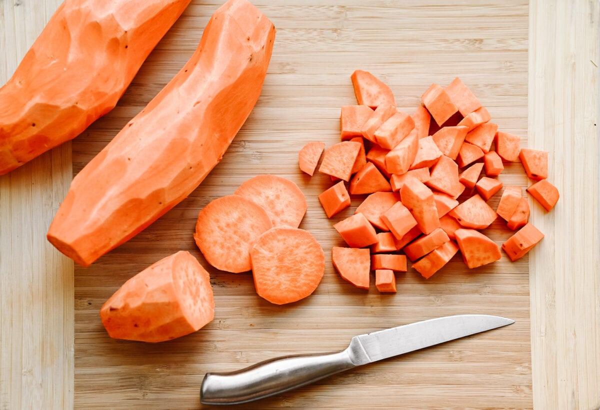image of diced and skinned sweet potatoes